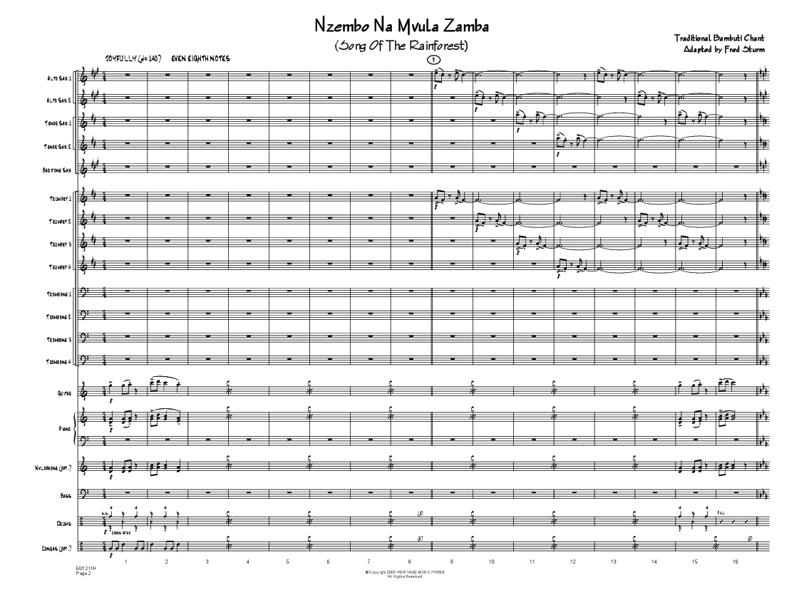 Nzembo Na Mvula Zamba by Fred Sturm| J W  Pepper Sheet Music
