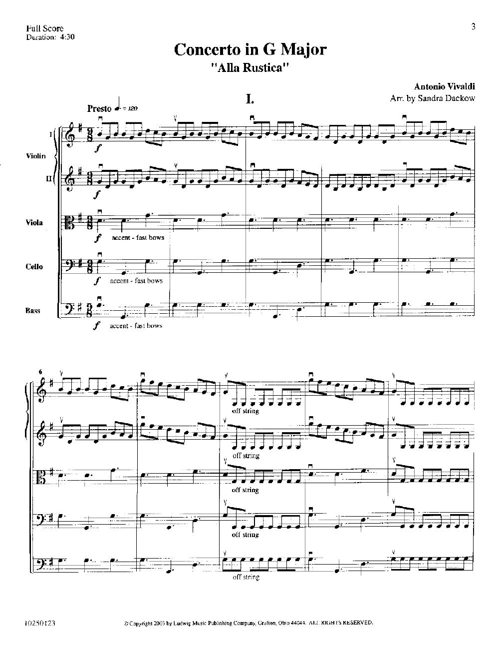 Concerto Alla Rustica by Vivaldi/arr  Sandra Dack | J W