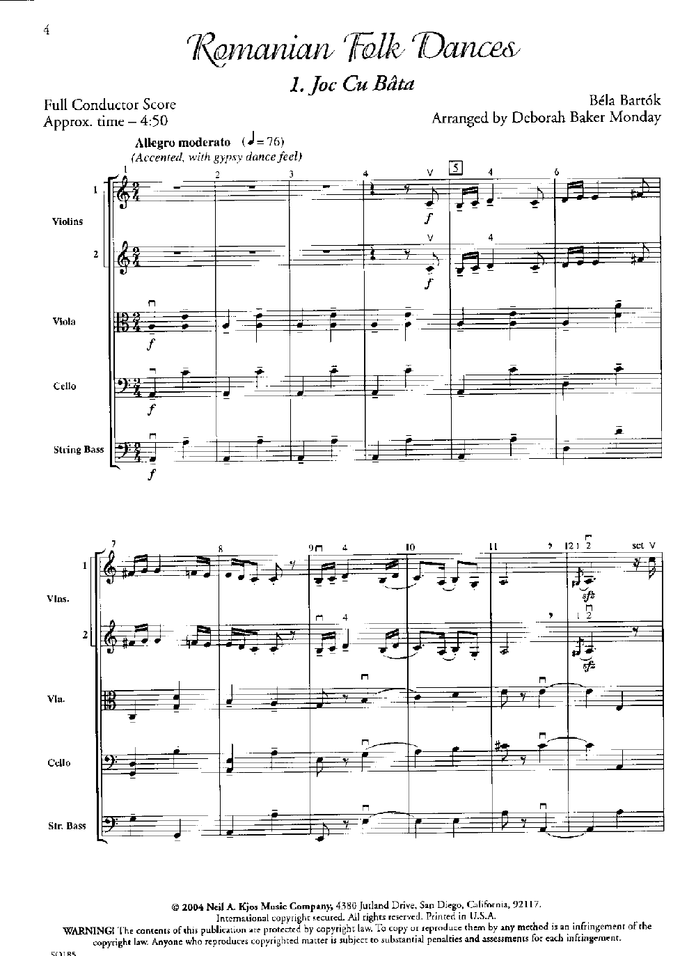 Romanian Folk Dances by Bela Bartok/arr  Monday| J W
