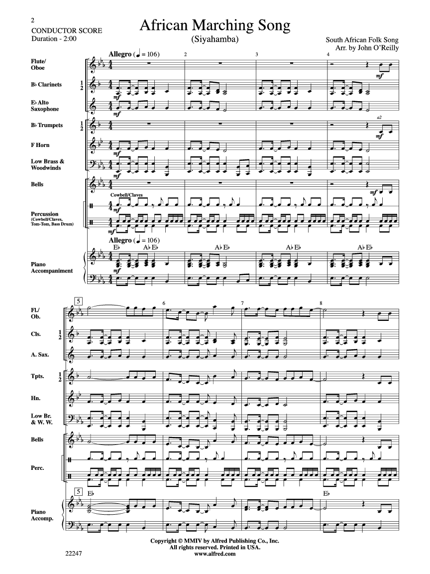 African Marching Song arr  John O'Reilly| J W  Pepper Sheet Music