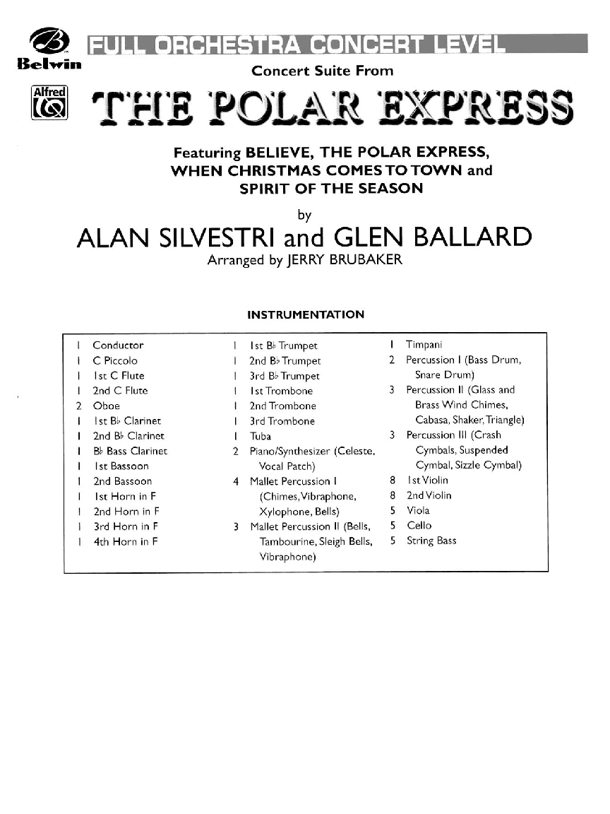 The Polar Express When Christmas Comes To Town.The Polar Express Additional Score Arr J J W Pepper