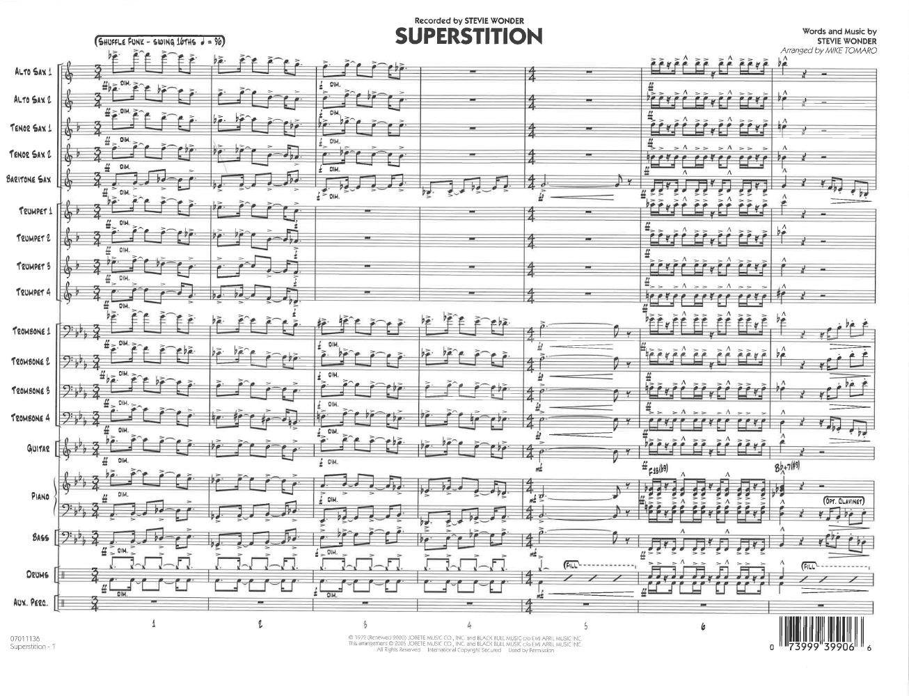 Superstition by Stevie Wonder/arr  Mike Tomaro| J W  Pepper Sheet