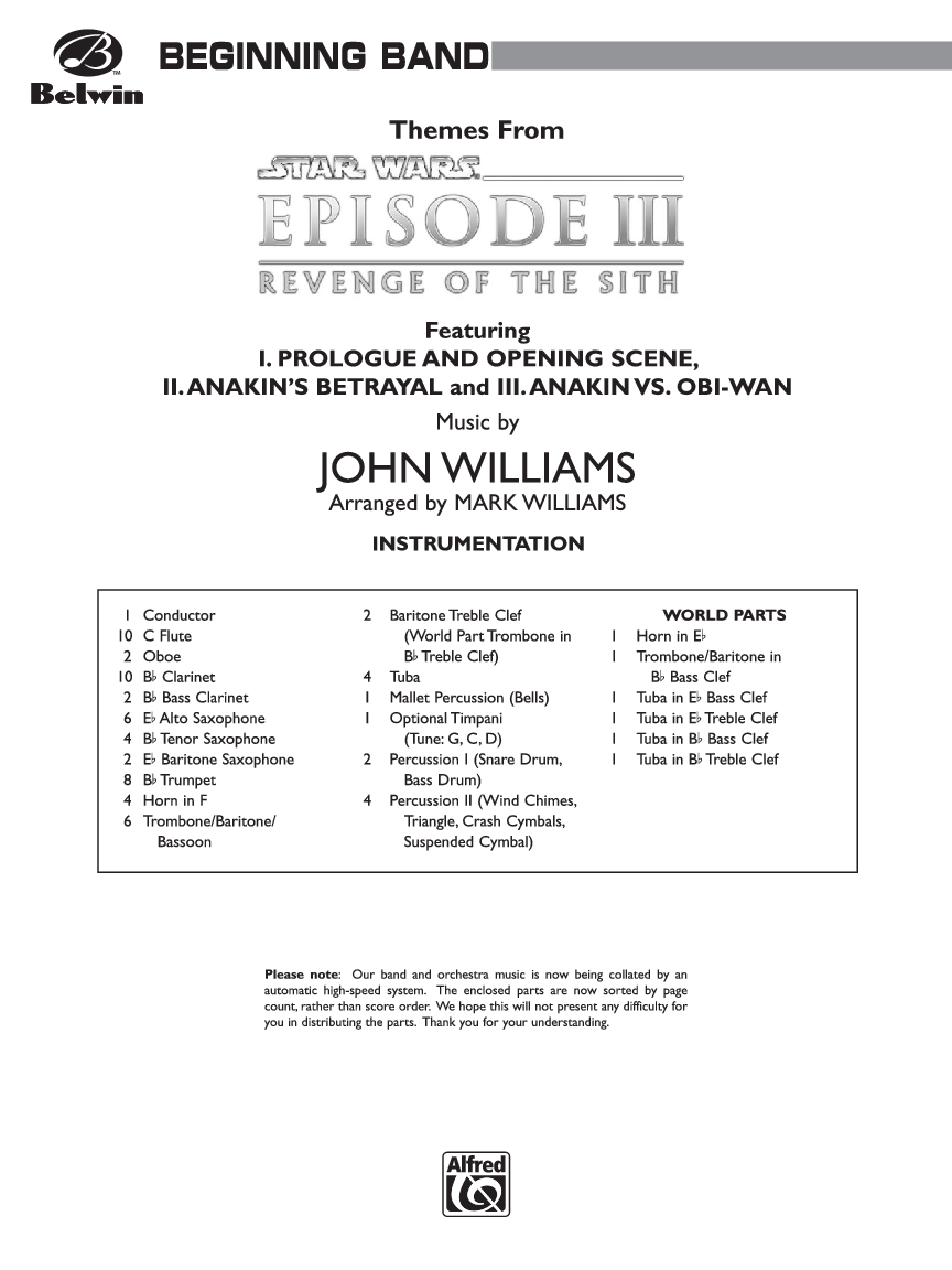 Star Wars Episode Iii Revenge Of The Sith By Joh J W Pepper Sheet Music