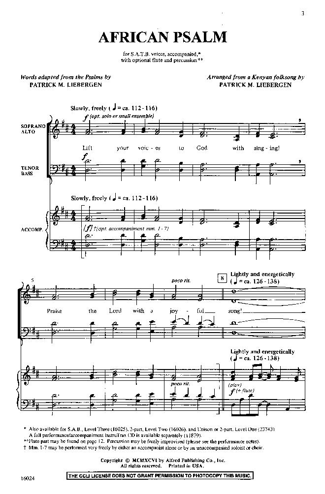 African Psalm (SATB ) by Patrick Liebergen| J W  Pepper Sheet Music