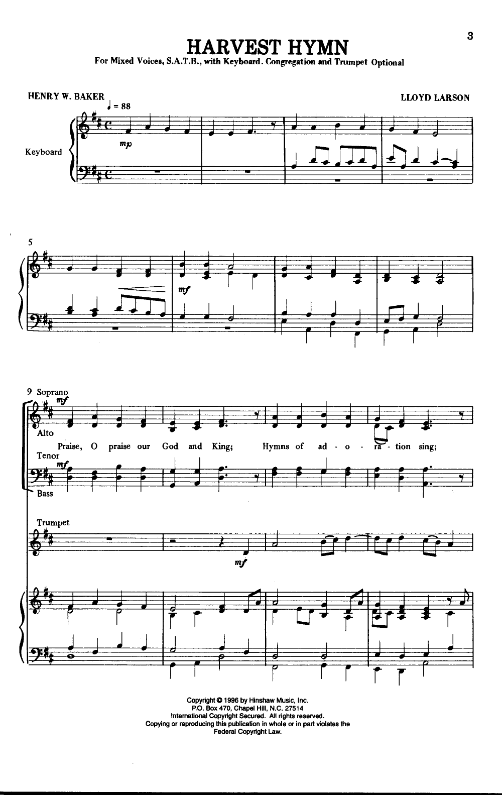 Harvest Hymn Satb By Larson L J W Pepper Sheet Music