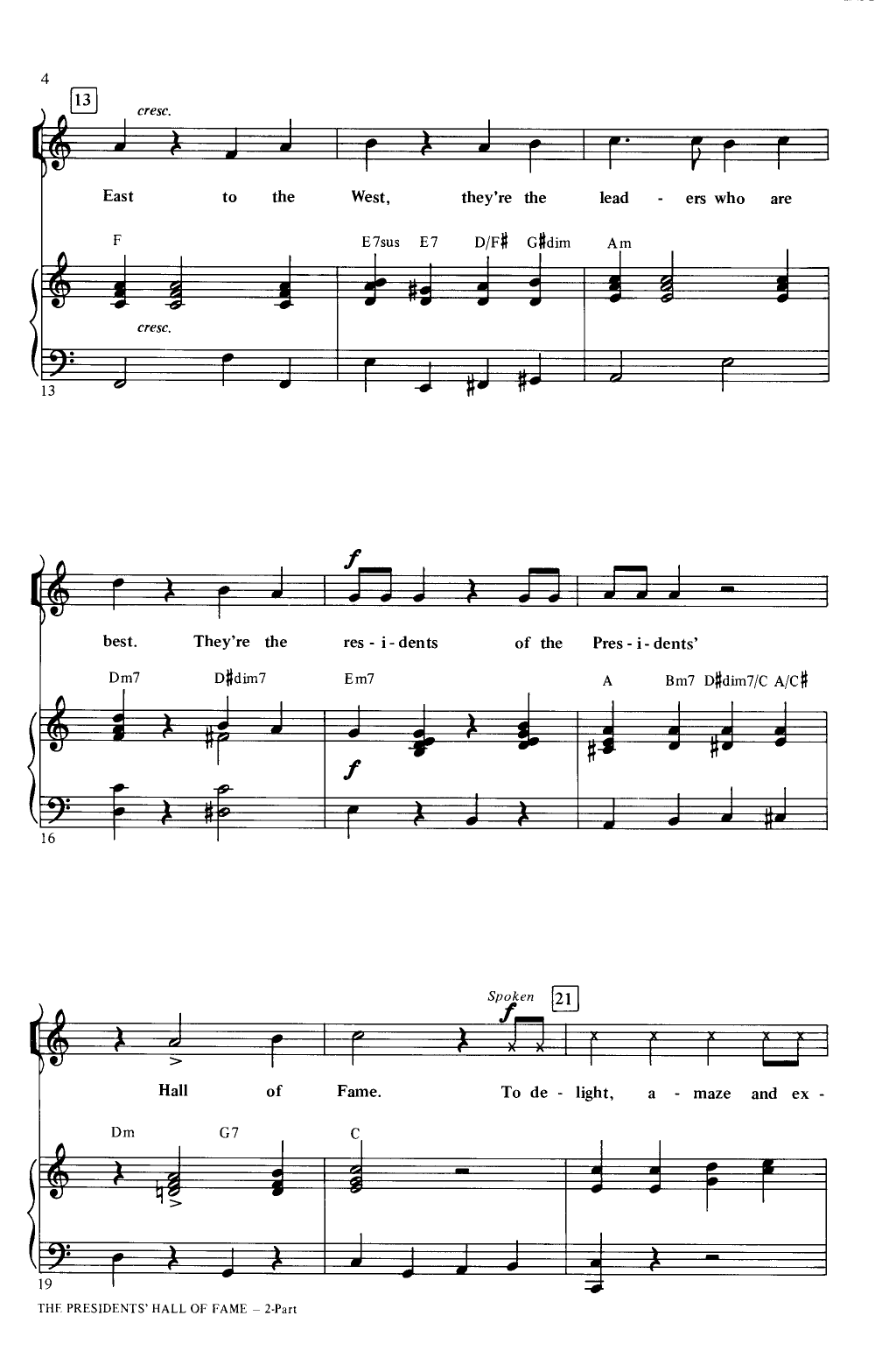 Presidents Hall of Fame (Two-Part&nbs | J W  Pepper Sheet Music