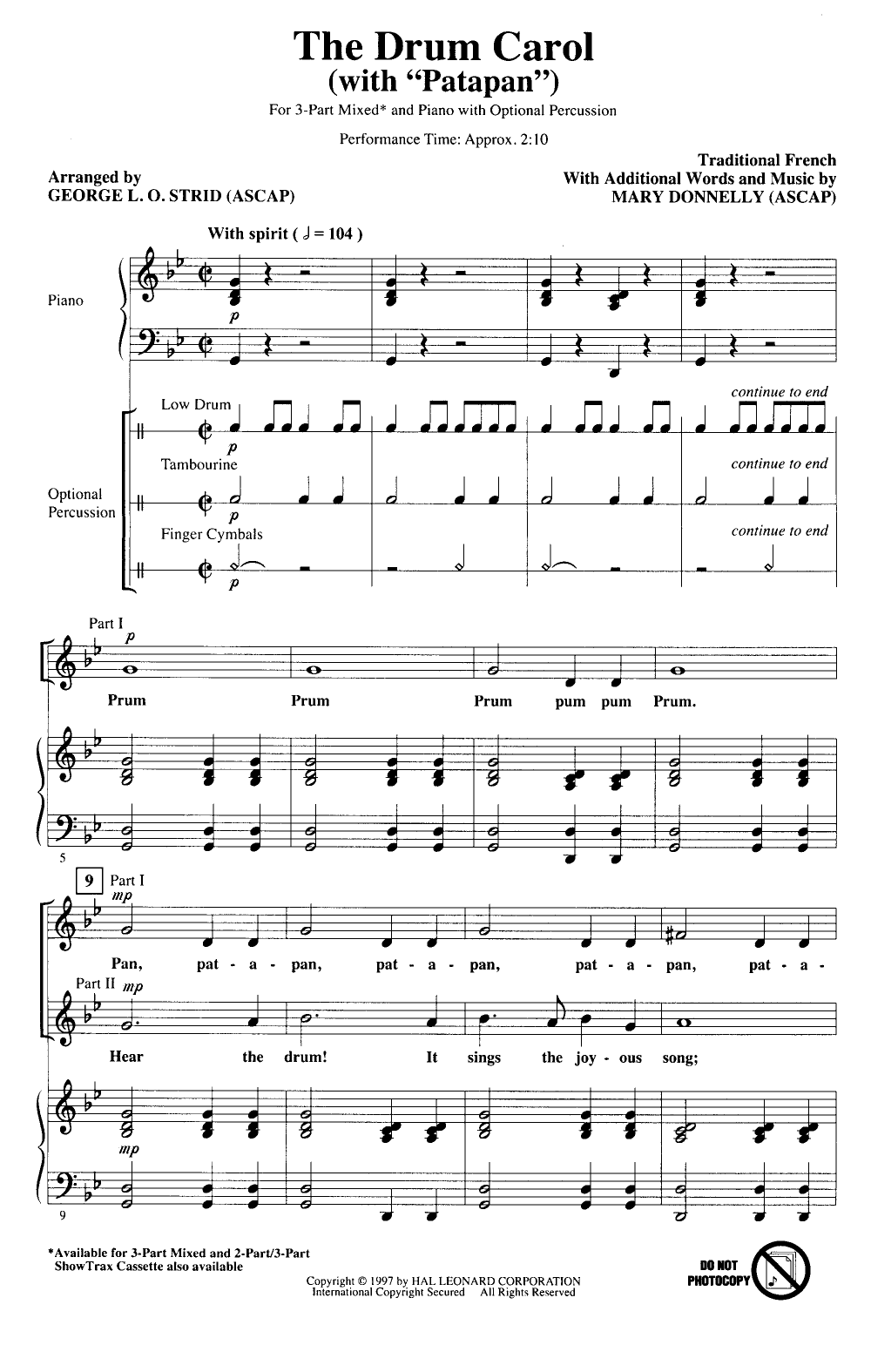 Drum Carol (Three-Part M | J W  Pepper Sheet Music