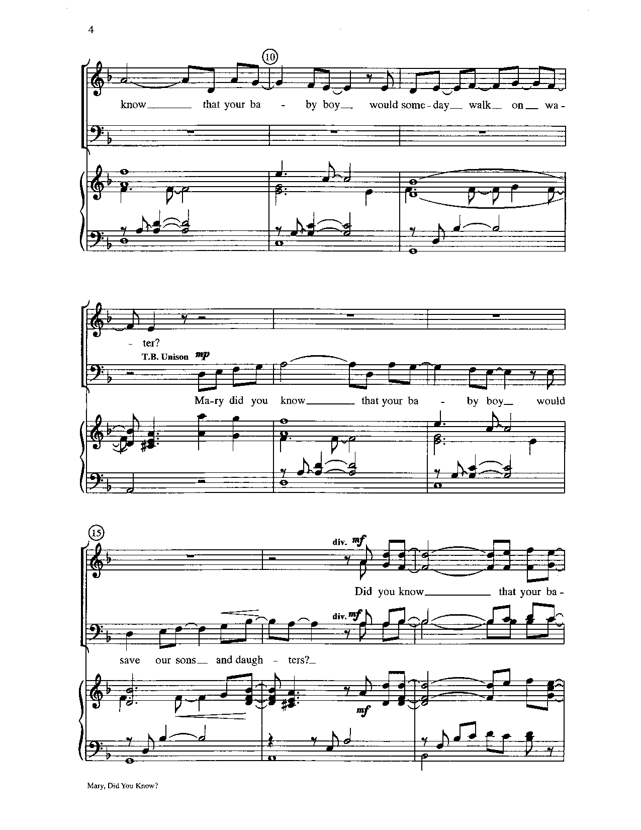 graphic relating to Mary Did You Know Lyrics Printable titled Mary, Did Oneself Notice? (SATB ) by means of Mark Lowry  J.W. Pepper