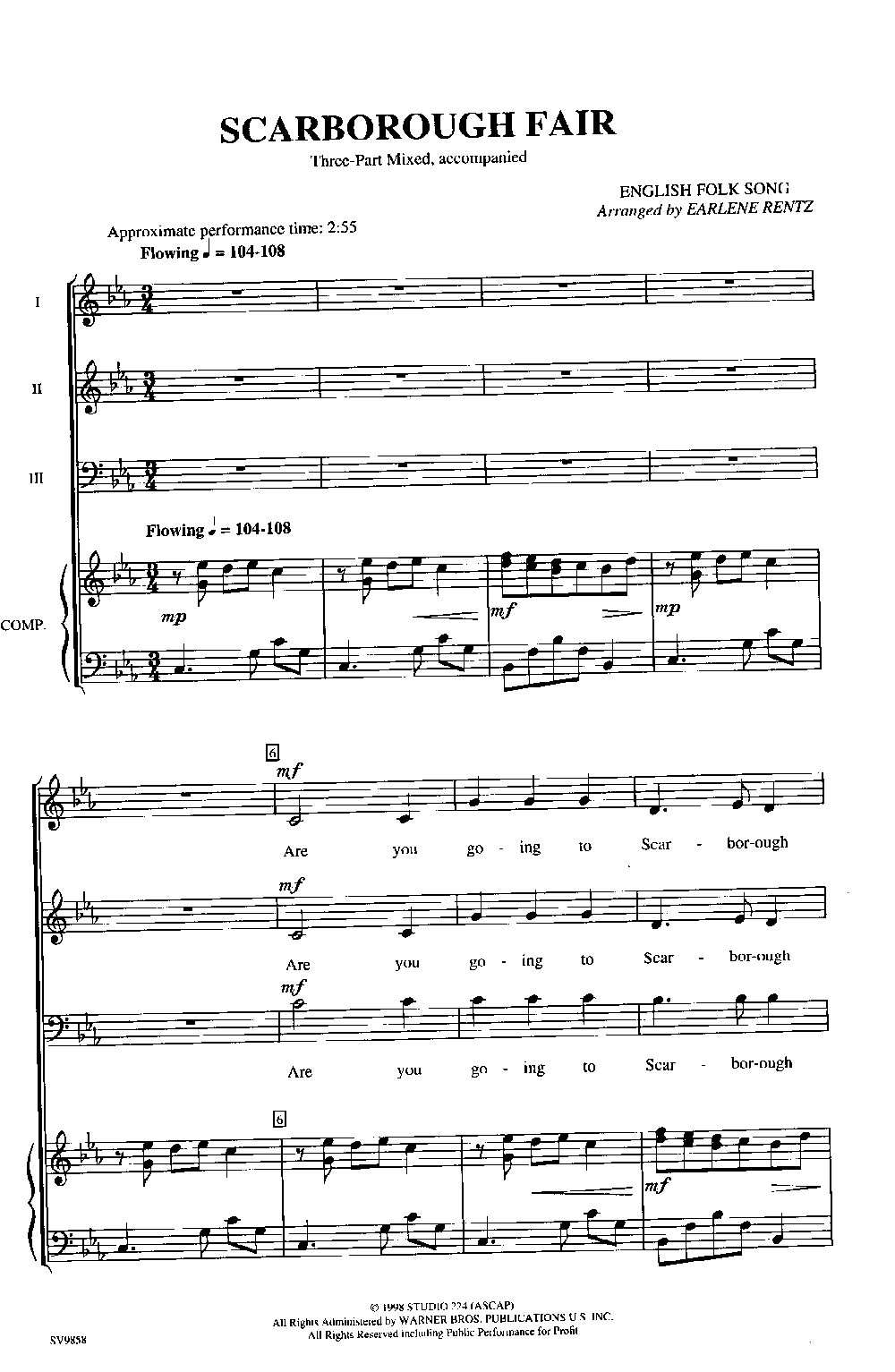 Scarborough Fair (Three-Part M | J W  Pepper Sheet Music