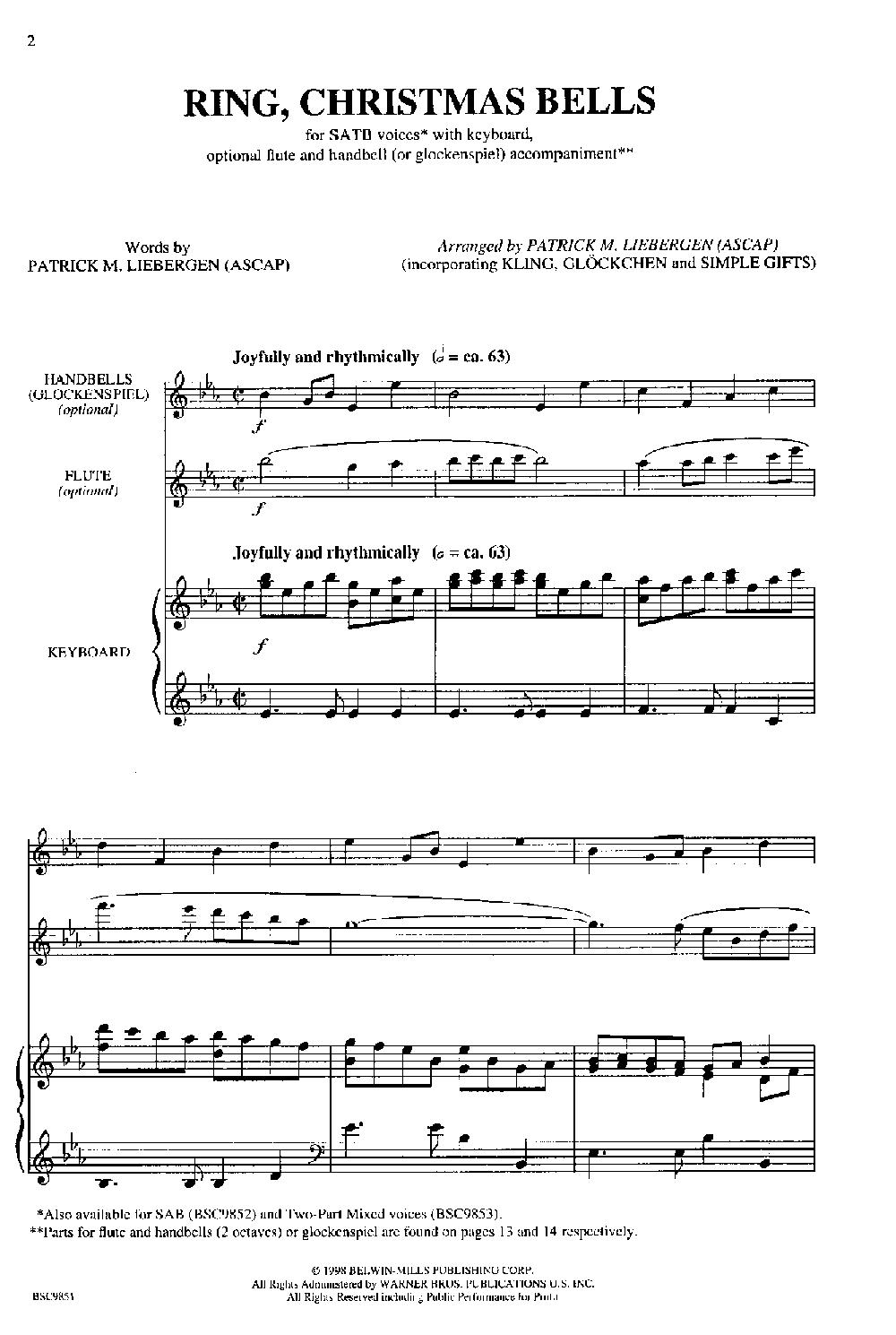 Ring Christmas Bells (SATB ) | J.W. Pepper Sheet Music