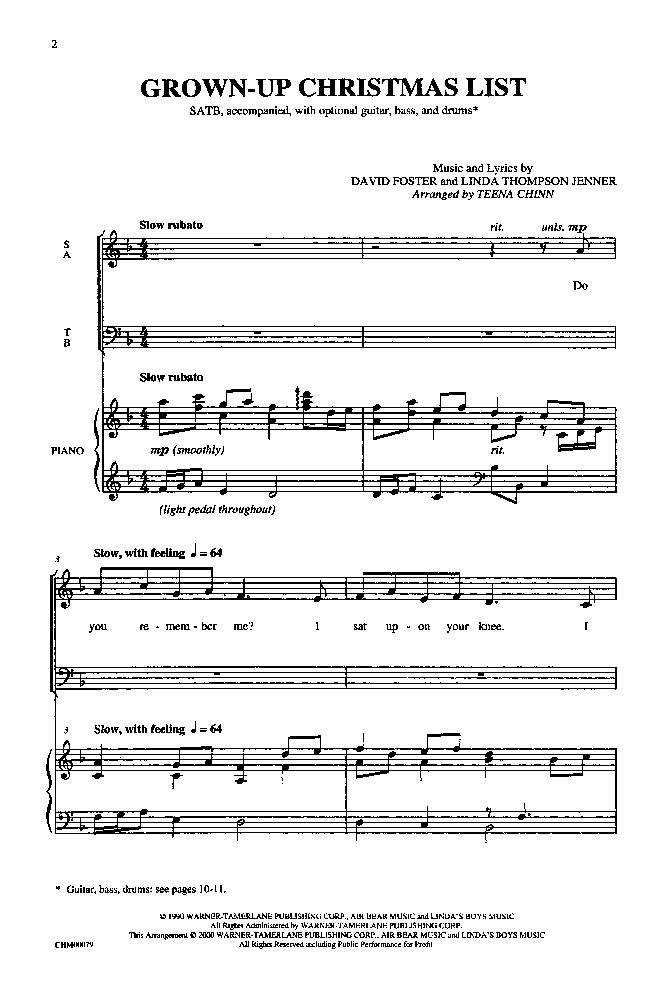 Grown up Christmas List (SATB ) by David Fos   J.W. Pepper Sheet Music