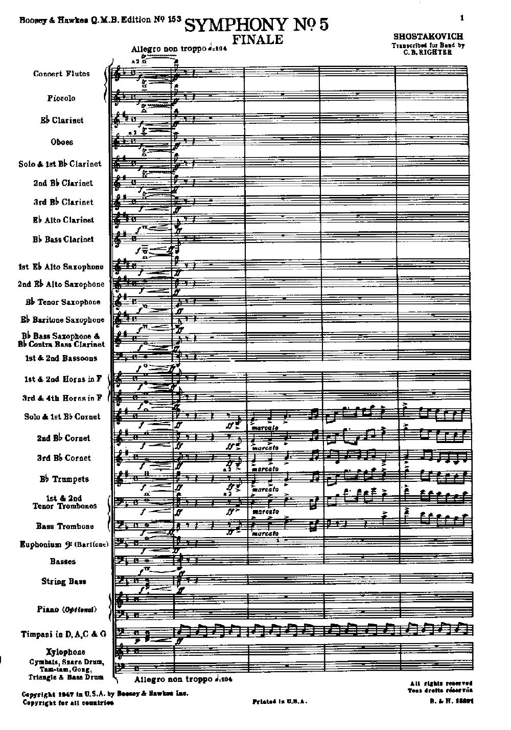 Symphony No  5 by Dmitri Shostakovich/arr  Righter  J W