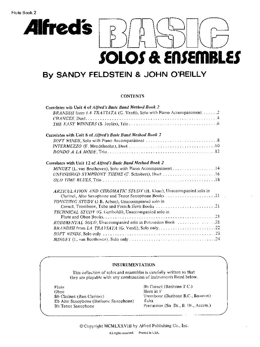 Basic Solos and Ensembles, Book 2 (Flute Due   J W  Pepper