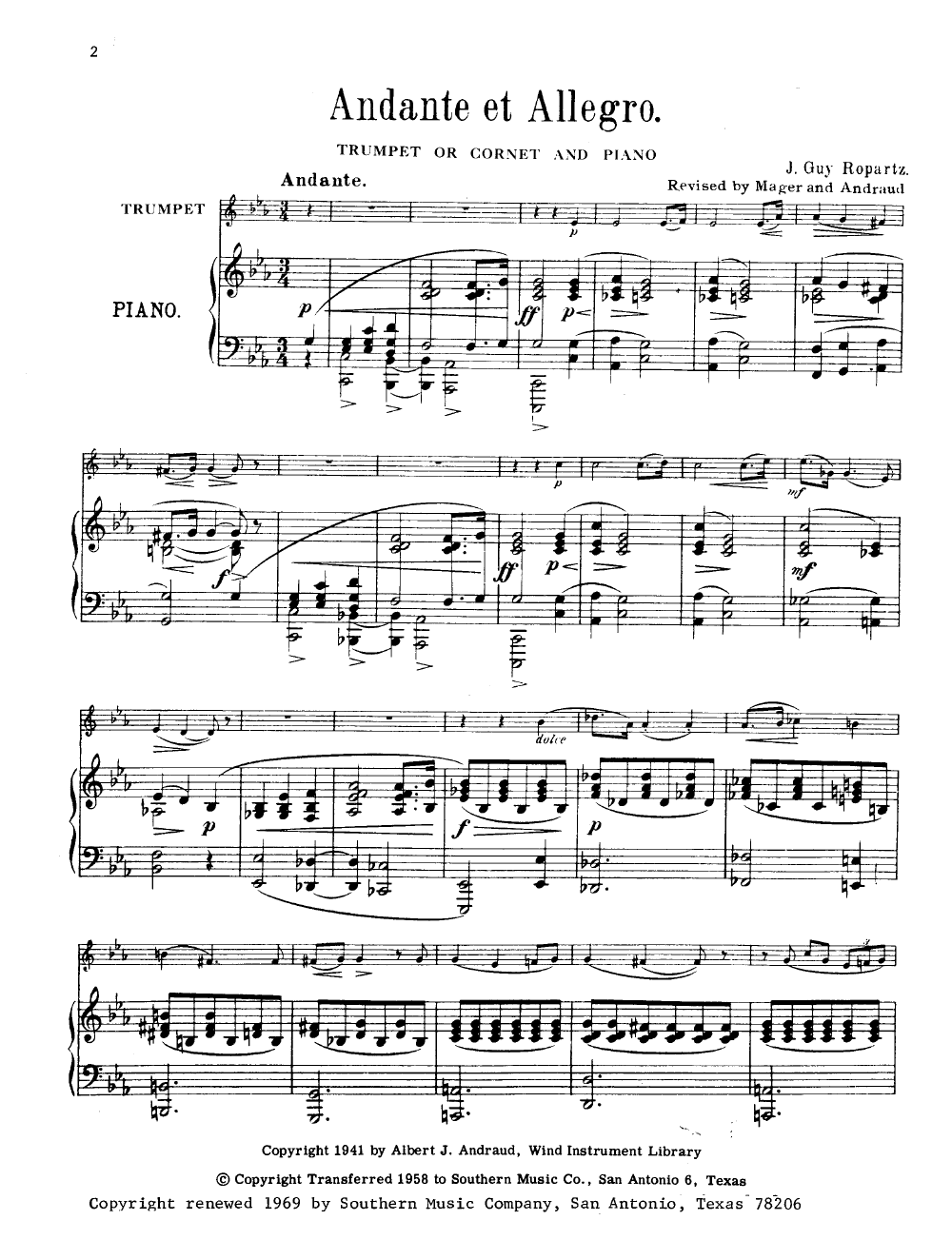 Andante et Allegro (Trumpet Solo with Piano& | J W  Pepper Sheet Music