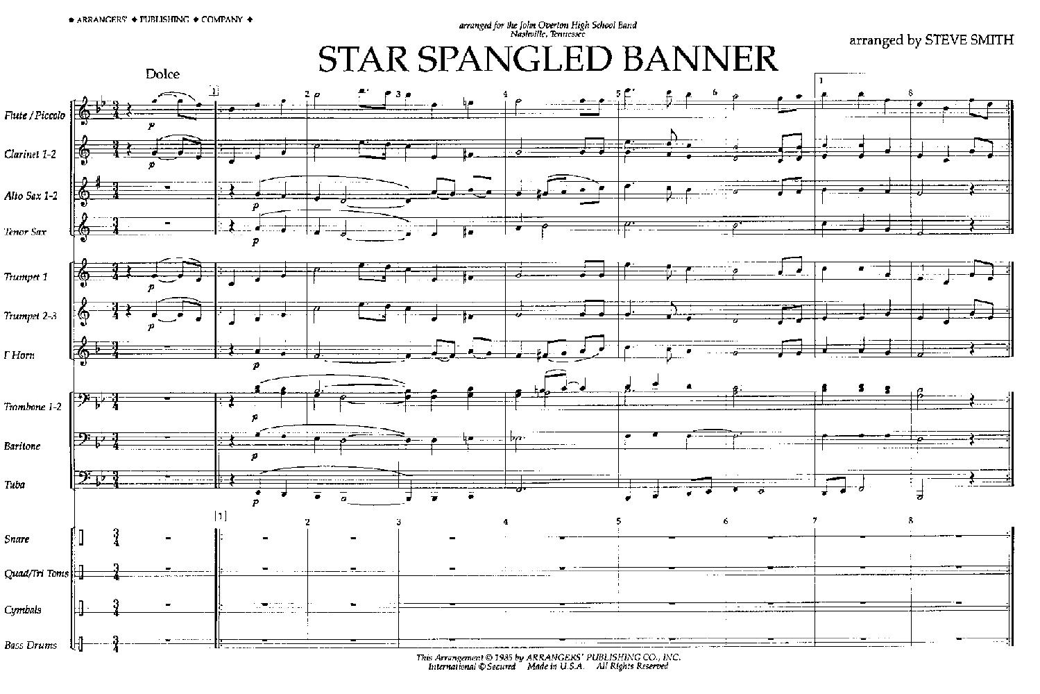 Star Spangled Banner arr  Steve Smith| J W  Pepper Sheet