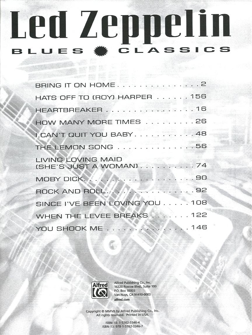 Led Zeppelin Blues Classics-Guitar Tab by LED ZEP | J W