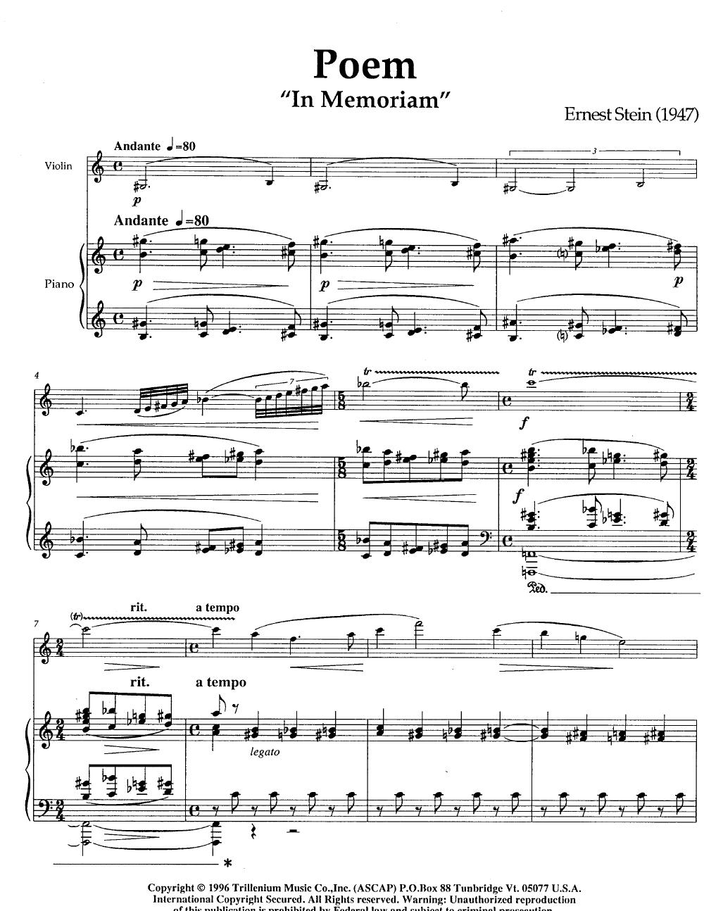 Poem in Memoriam-Violin Thumbnail