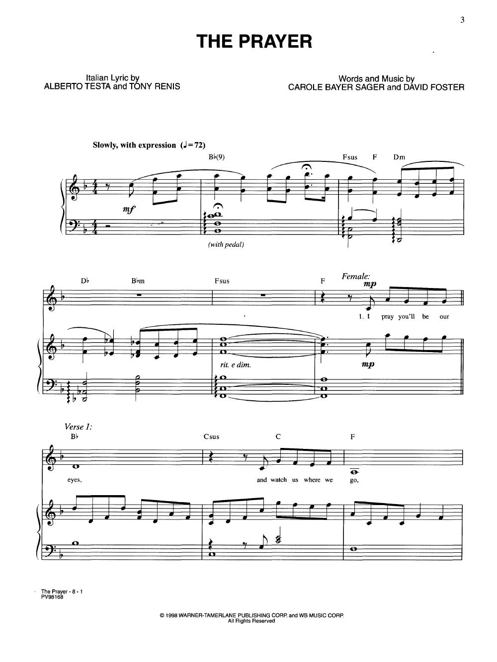 Prayer-Vocal Duet by Celine Dio   J W  Pepper Sheet Music