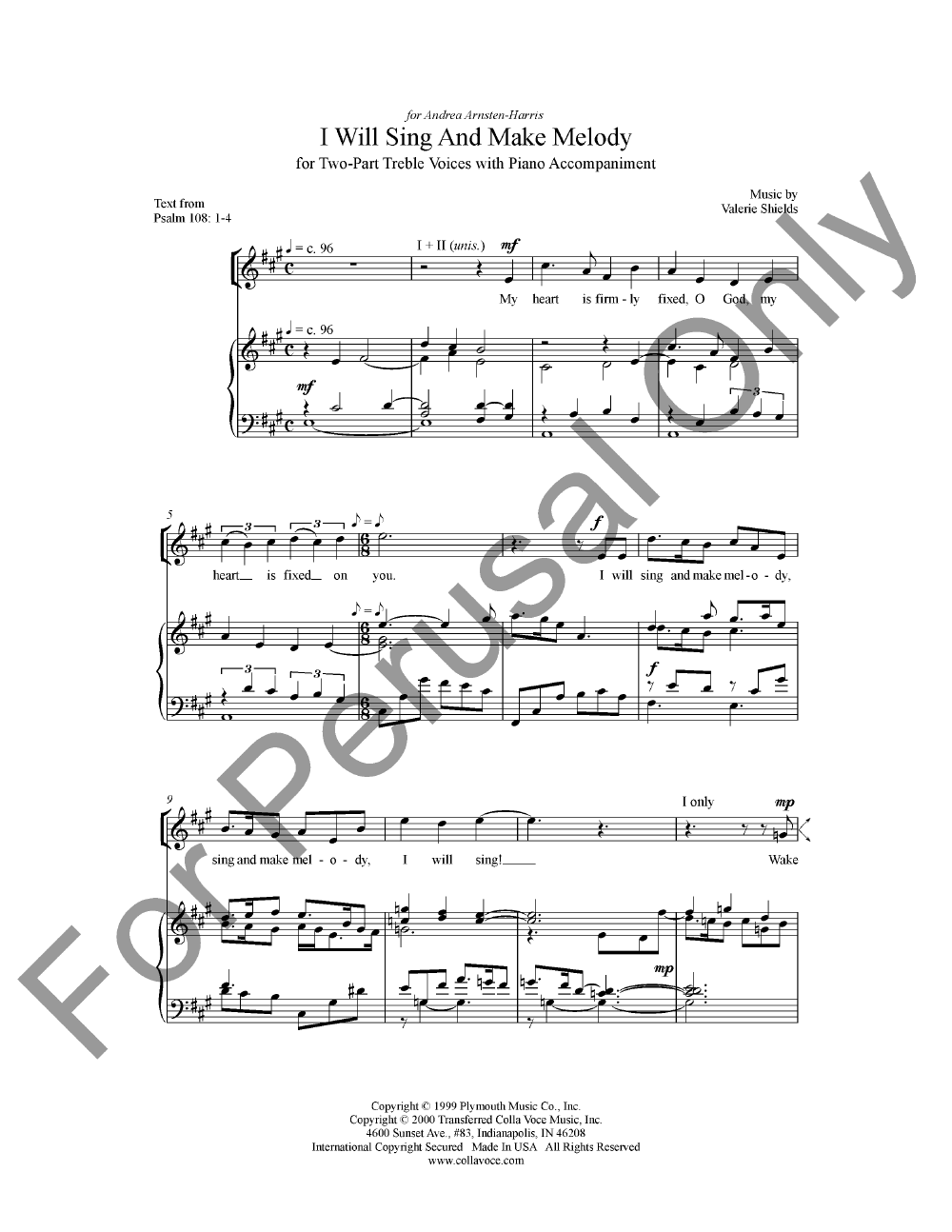 I Will Sing and Make Melody (SA ) by | J W  Pepper Sheet Music