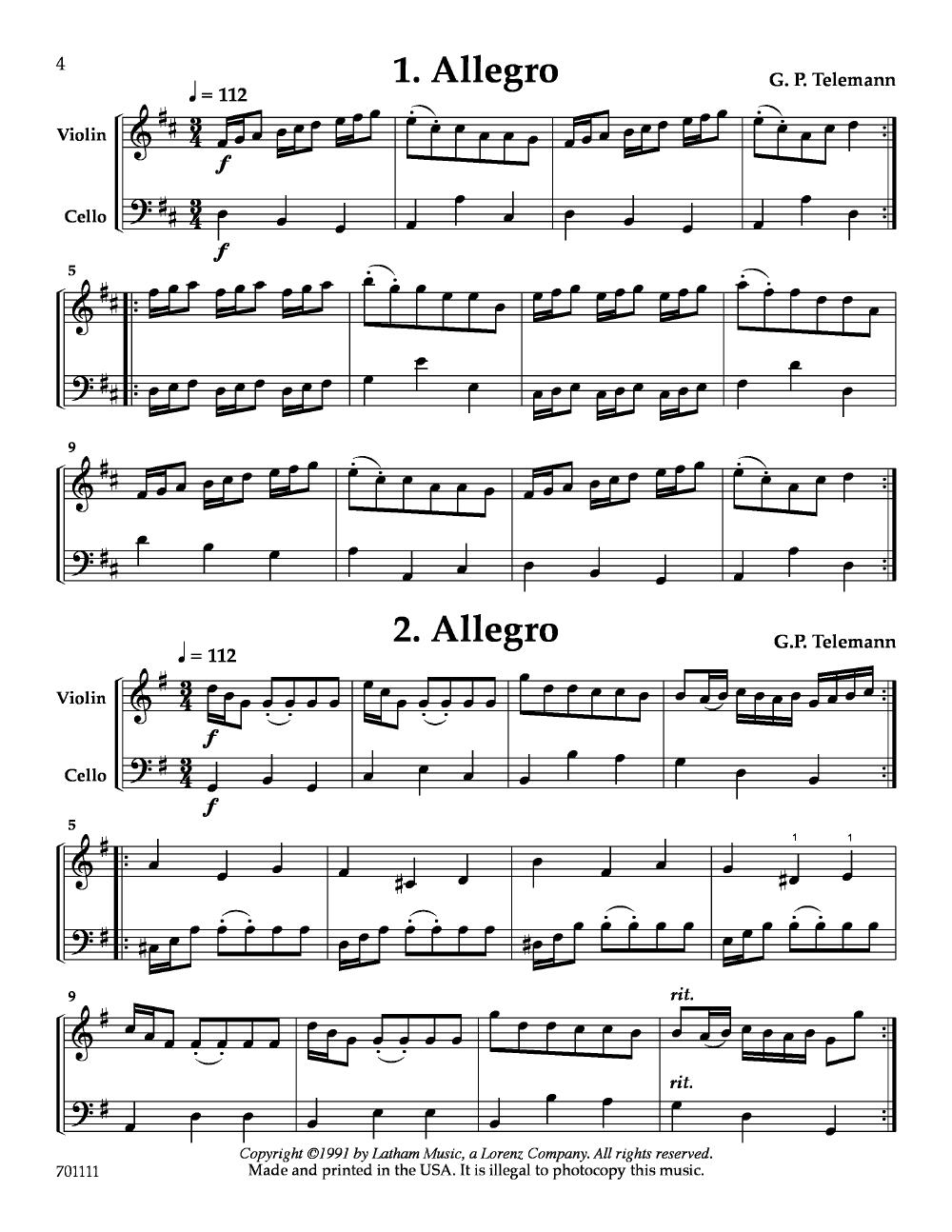 15 Duets for Violin and Cello (Violin, Cello | J W  Pepper