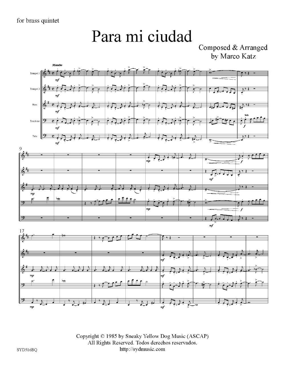 Para Mi Ciudad-Brass Quintet Thumbnail