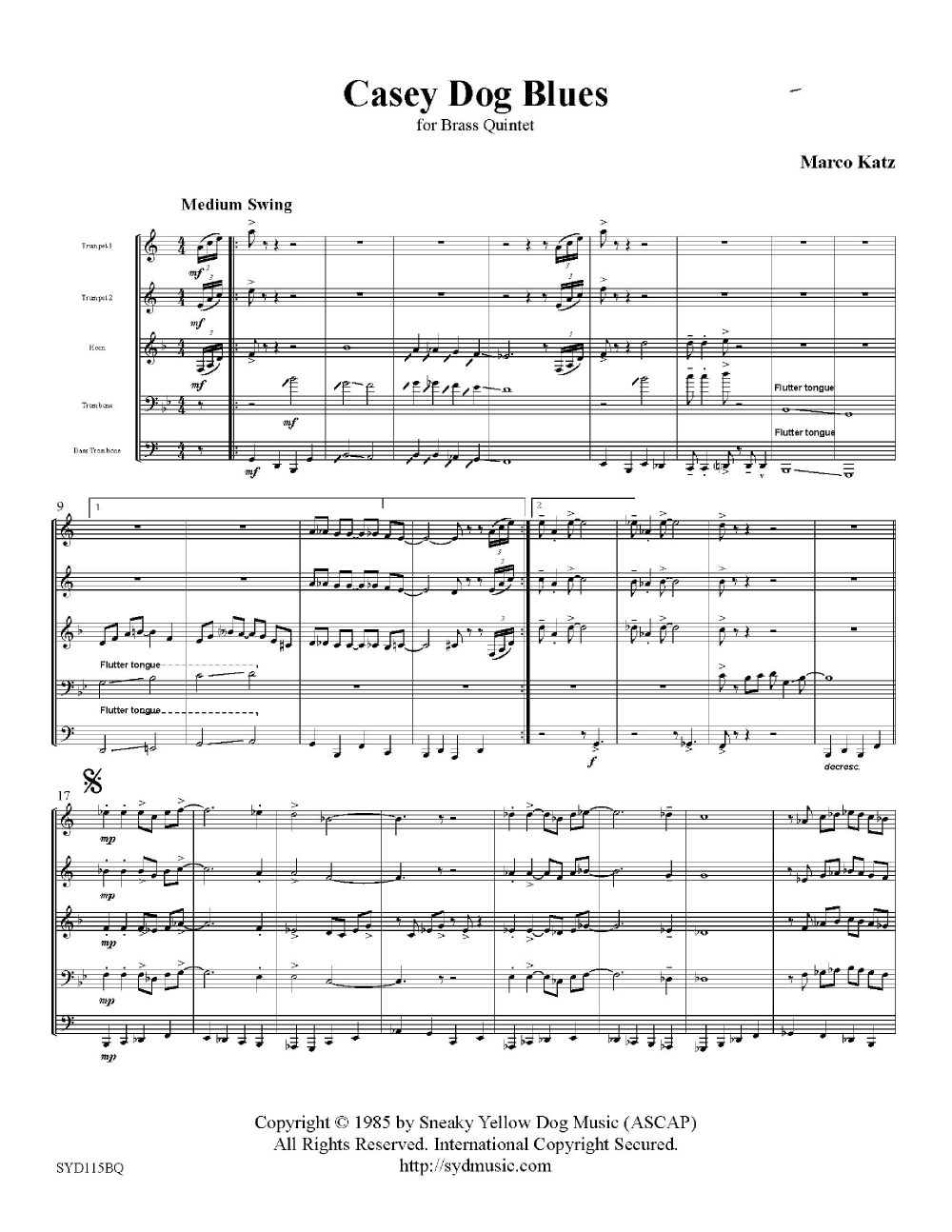Casey Dog Blues-Brass Quintet Thumbnail