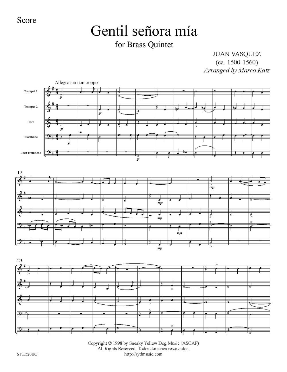 Gentil Senora Mia-Brass Quintet Thumbnail