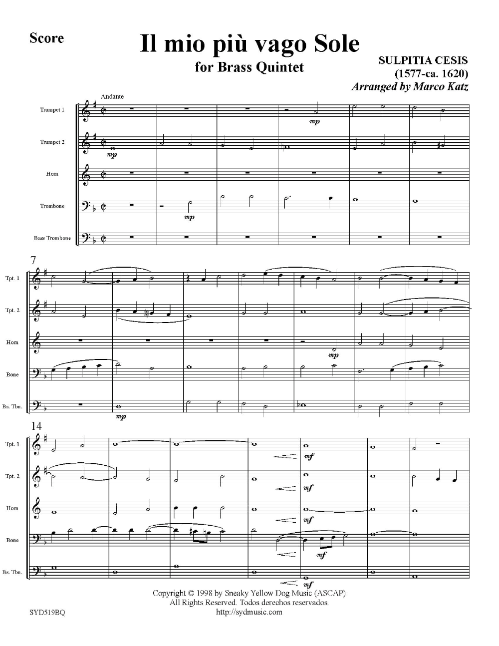 Il Mio Piu Vago Sole-Brass Quintet Thumbnail
