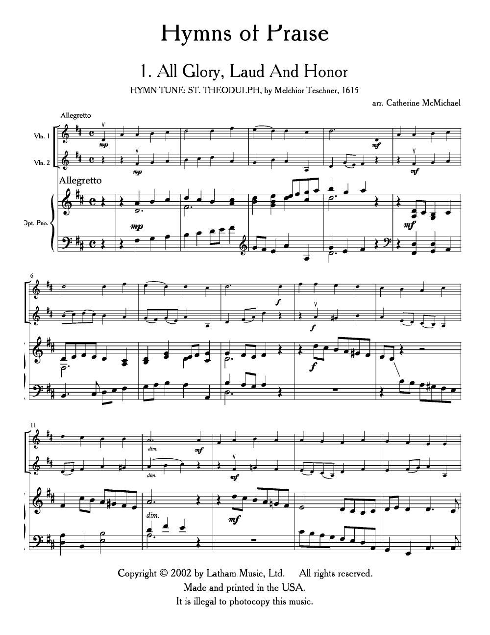 Hymns of Praise (String Duet 2 VLN