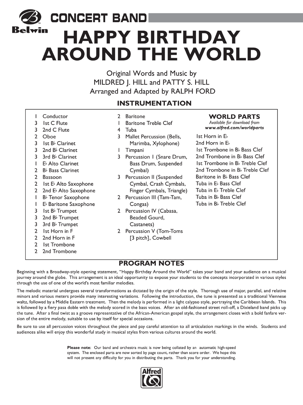 Happy Birthday Around the World (Full Score | J W  Pepper Sheet Music