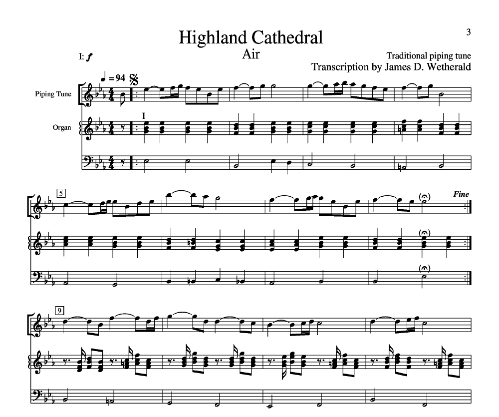 Free Easy Piano Sheet Music Score Scarborough Fair: Highland Cathedral By James Wetherald