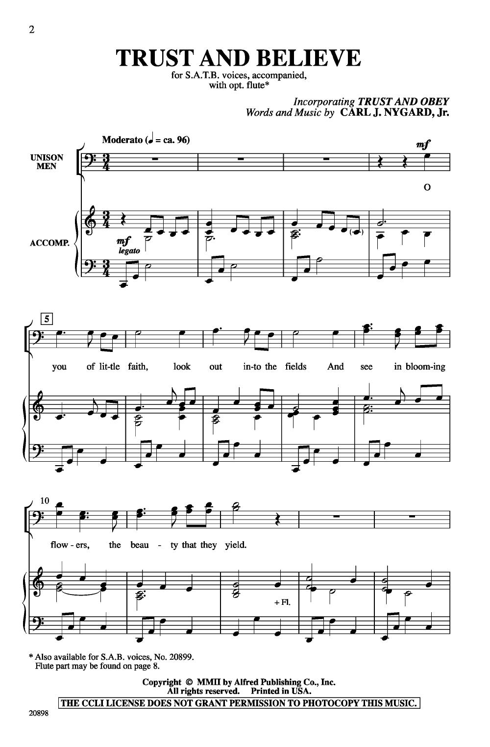 Trust and Believe (SATB ) | J W  Pepper Sheet Music
