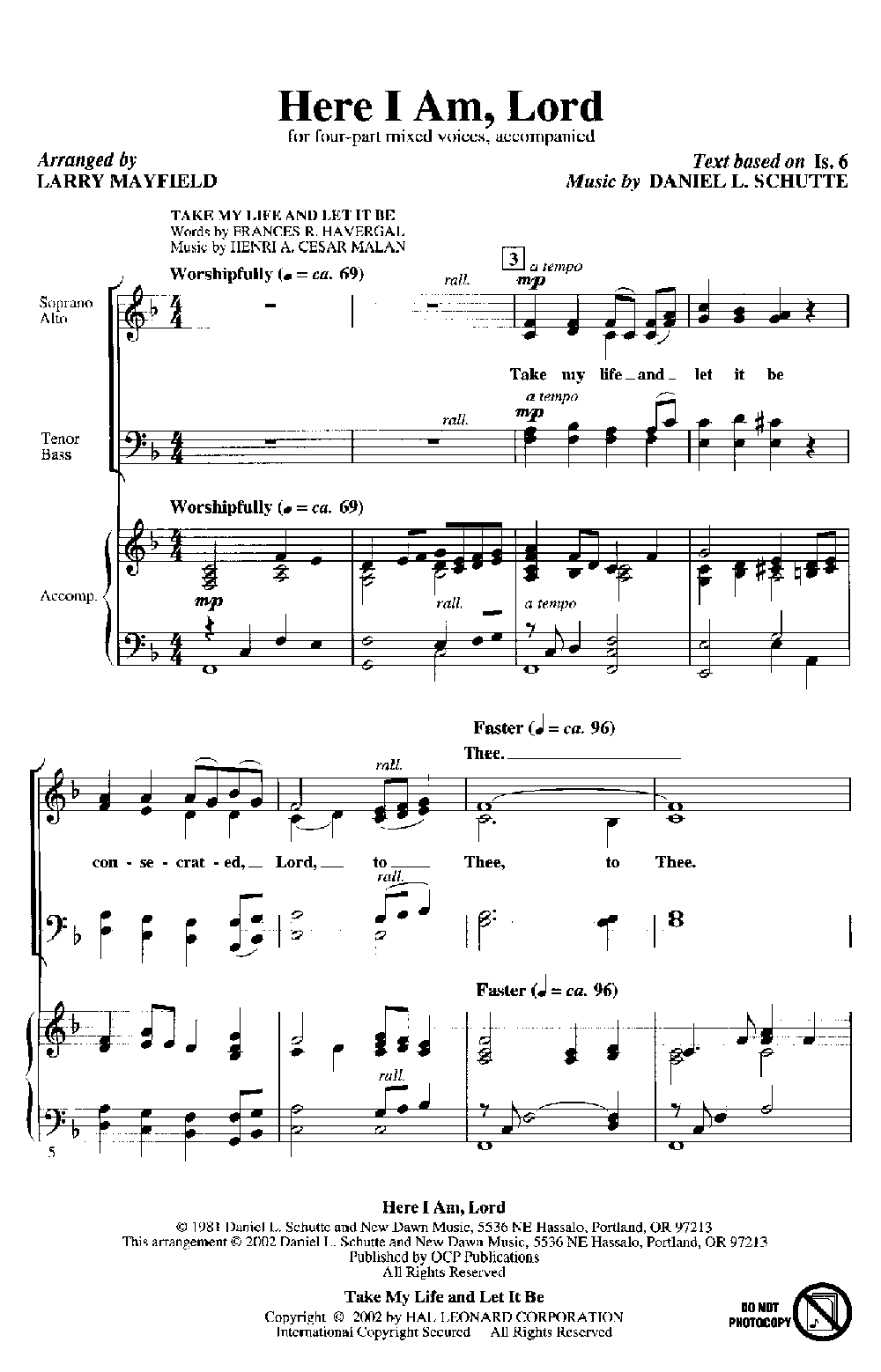 Here I Am, Lord (SATB ) arr  Larry Mayfield| J W  Pepper Sheet