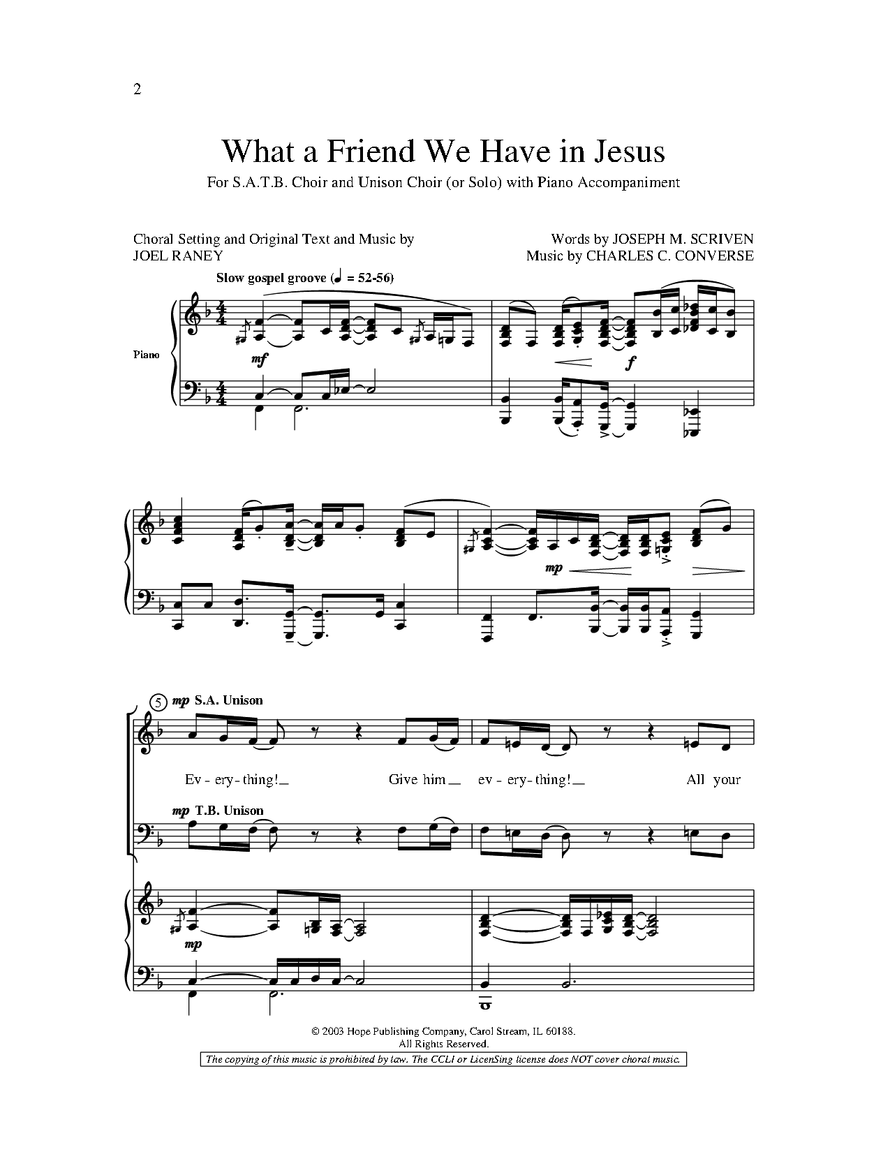 What a Friend We Have in Jesus (SATB ) by Jo | J W  Pepper
