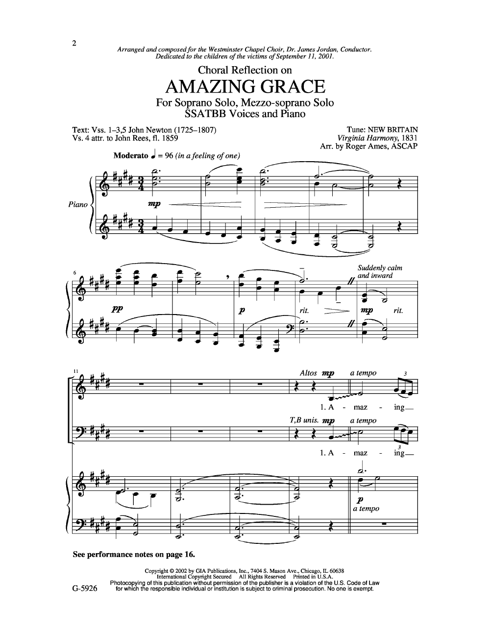 Choral Reflections on Amazing Grace (SSATBB | J W  Pepper