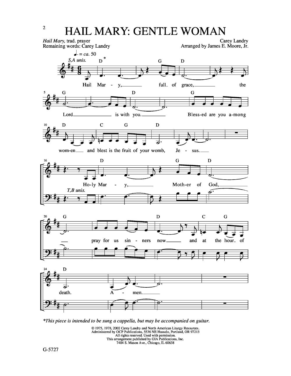 Hail Mary Gentle Woman (SATB ) by LANDRY, C | J W  Pepper Sheet Music