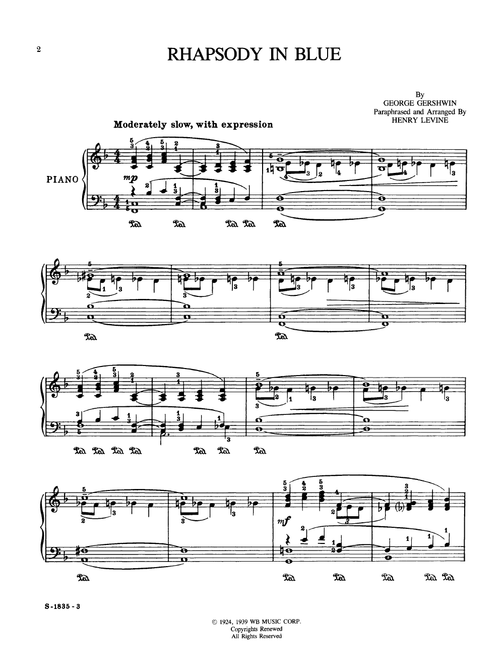 Get PDF Rhapsody in Blue George Gershwin Intermediate Piano Sheet Music