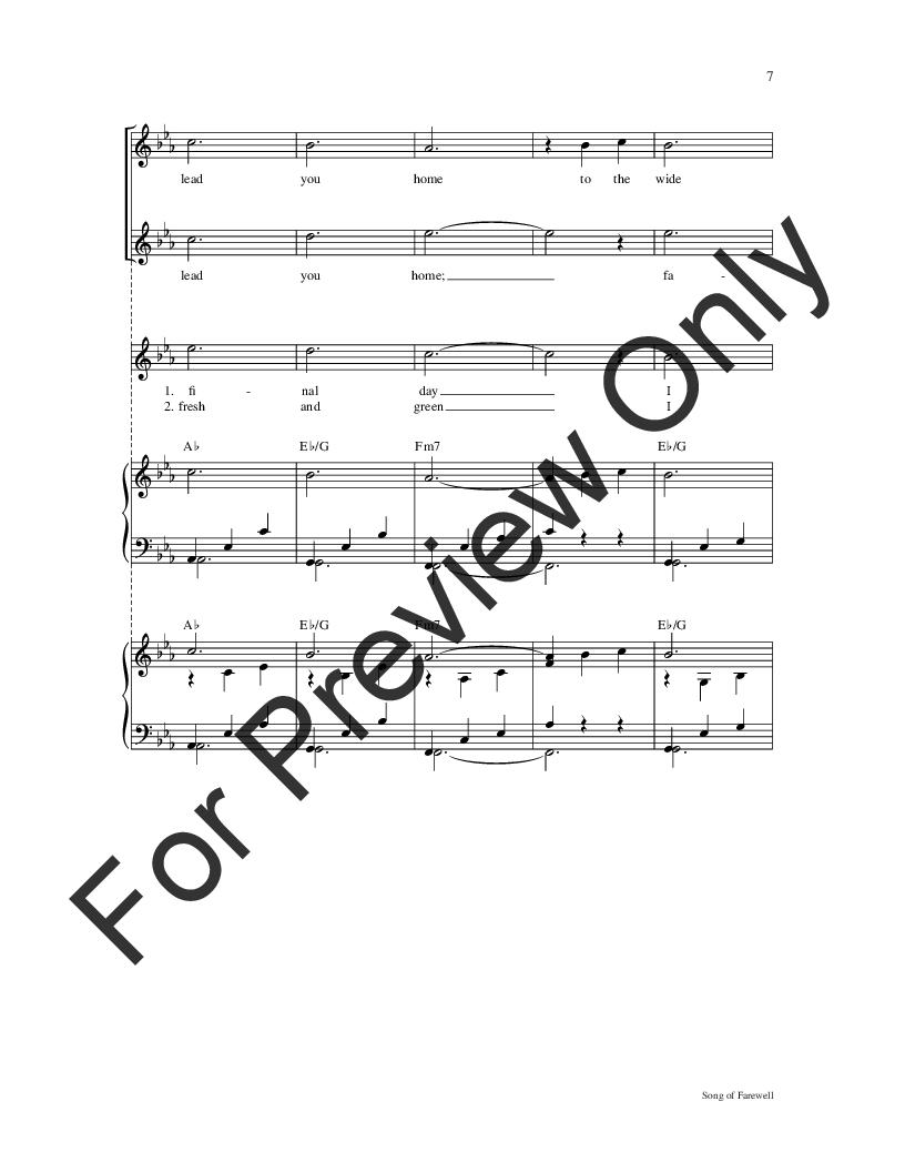 Song of Farewell (Two-Part ) by Dan Schutte  J W  Pepper Sheet Music