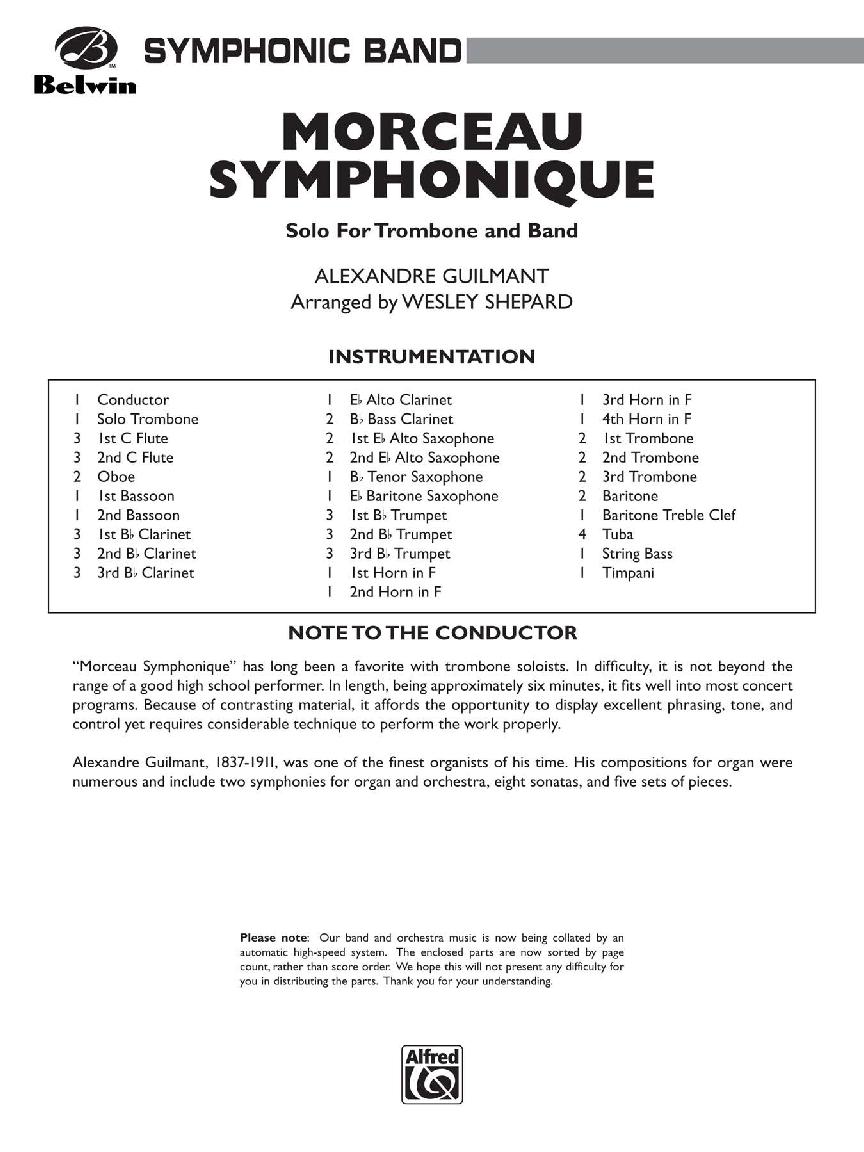 Morceau Symphonique by Alexandre Guilmant/Shepard  J W