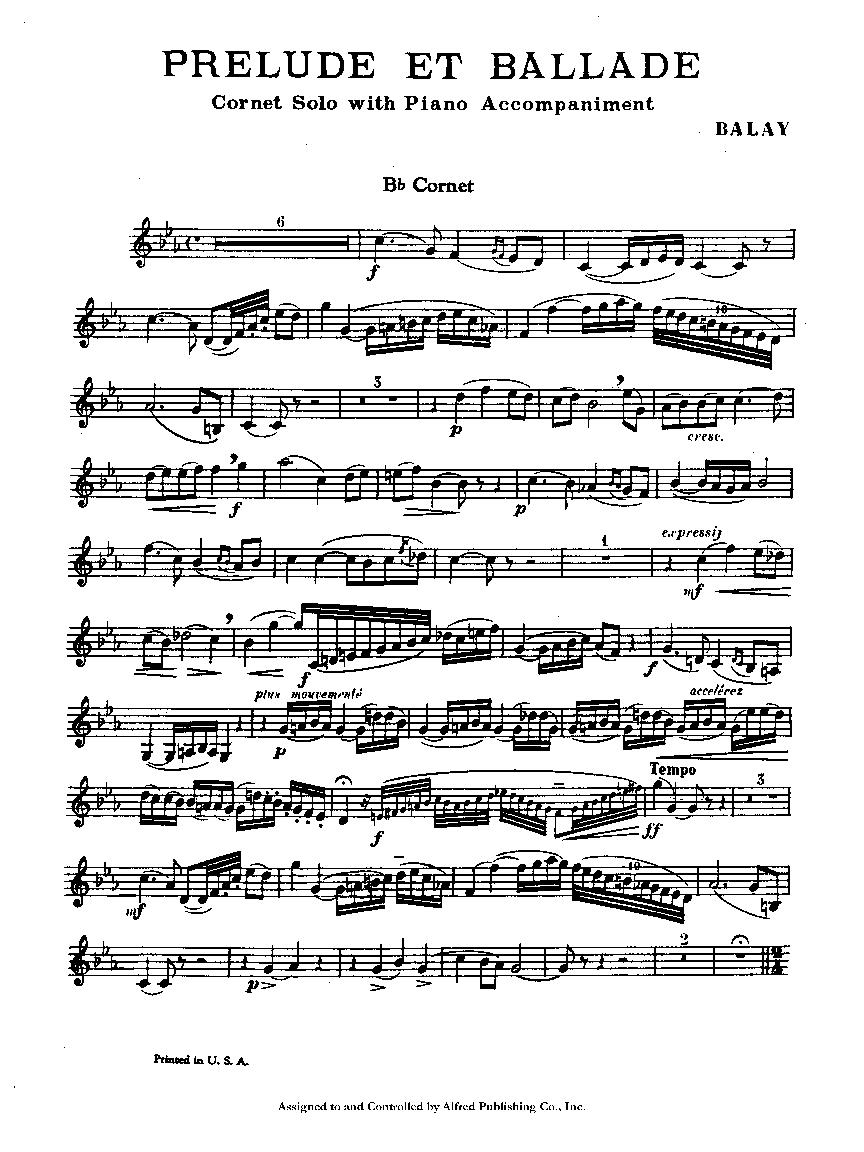 Prelude and Ballade (Trumpet Solo with Piano   J W  Pepper